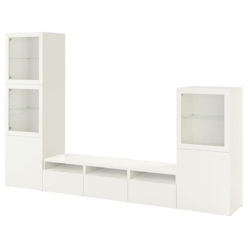 Besta Tv Storage Combination Glass Doors White Selsviken High Gloss White Frosted Glass 118 1 8x16 1 2x76 In 2020 Tv Storage Glass Door Ikea