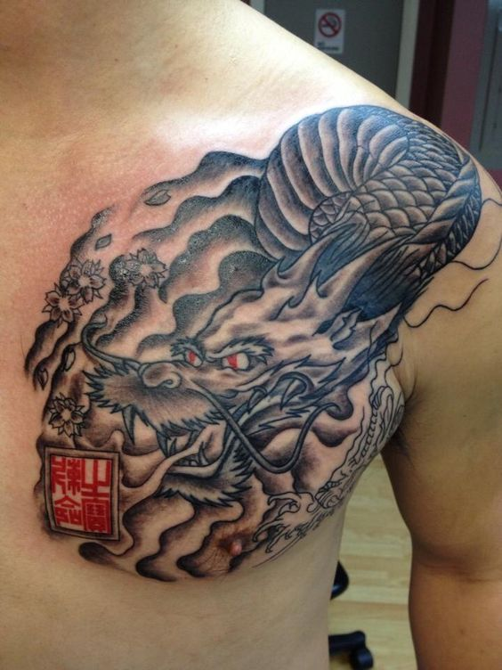 Dragon chest tattoo fixing up added onto an unknown for Japanese style chest tattoos