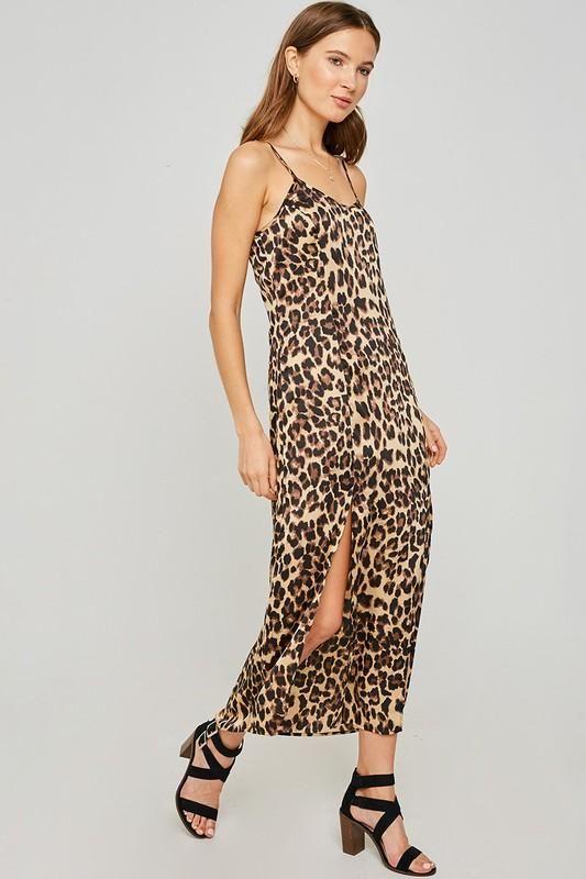Vintage 90s Dress Tea Dress Long Dress Animal Print Dress Leopard Print Dress Black and White Dress Summer Dress Back Tie Button Front M