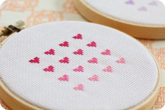 cross stitch ombre hearts