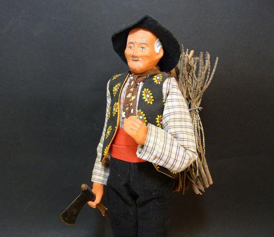 Santon de Provence, Homme au fagot, poupée en terre cuite, habit traditionnel, artisanat Provence Sud-Est France de la boutique sofrenchvintage sur Etsy