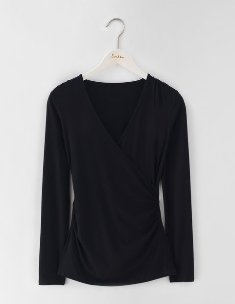 Long Sleeve Wrap Jersey Top WO097 Tops & T-Shirts at Boden