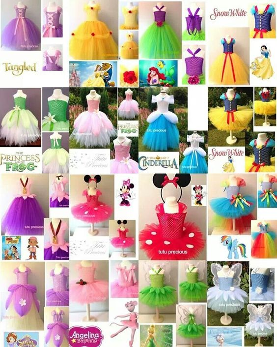 Tutu costumes - this pin just links to an image.  Original dresses are on http://www.tutuprecious.co.uk/fairy-tale-princesses/
