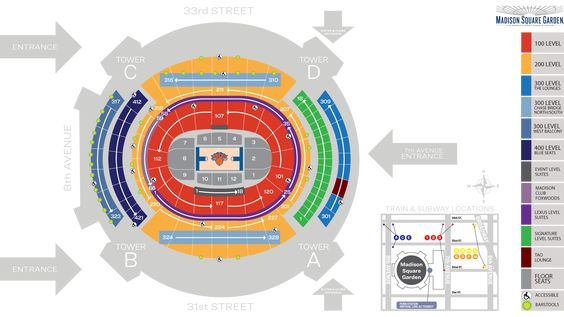 Madison Square Garden Seating Chart And Map Knicks Madison Square Garden Garden Seating Madison Square