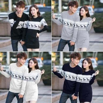 New Fashion Lovers Couple Men Women Long Sleeve Tops Blouses Pullovers Knit Sweaters