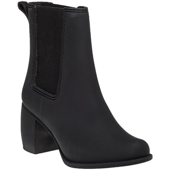 JEFFREY CAMPBELL Clima Black Mat Rubber Rain Boot ($55) ❤ liked on Polyvore featuring shoes, boots, ankle boots, black matte rubber, rubber rain boots, black wellington boots, wellies boots and short rubber boots