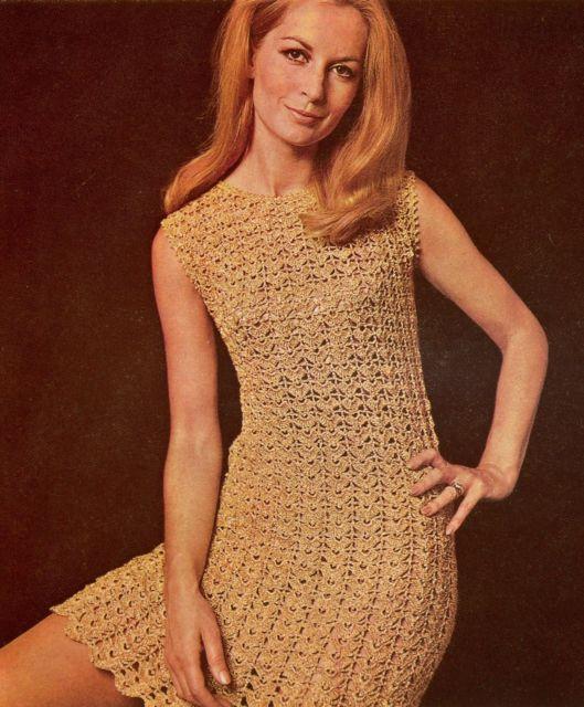 """Crochet Pattern Ladies Women's Lacy 1960's Mod Dress 32-42"""" FREEPOST   eBay"""