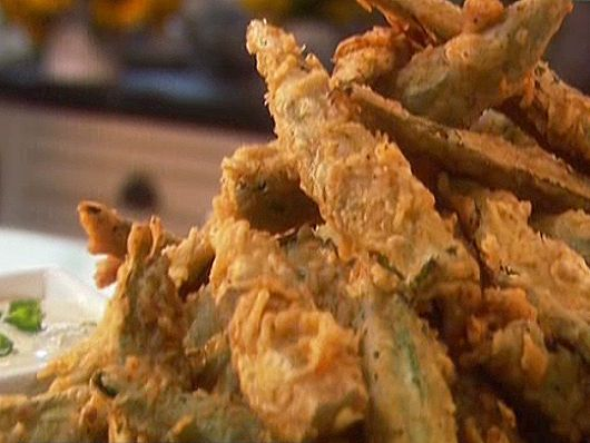 Cajun Tempura Okra with a Scallion Dipping Sauce!   Actually found some good looking okra in the store this week...I am soooo trying this! Can't wait!
