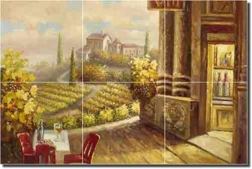 """Vineyard Cafe - Tuscan Landscape Ceramic Tile Mural 12"""" x 18"""" Kitchen Shower Backsplash by Artwork On Tile, http://www.amazon.com/dp/B003FY0YPE/ref=cm_sw_r_pi_dp_Iurrqb0G3S60X"""