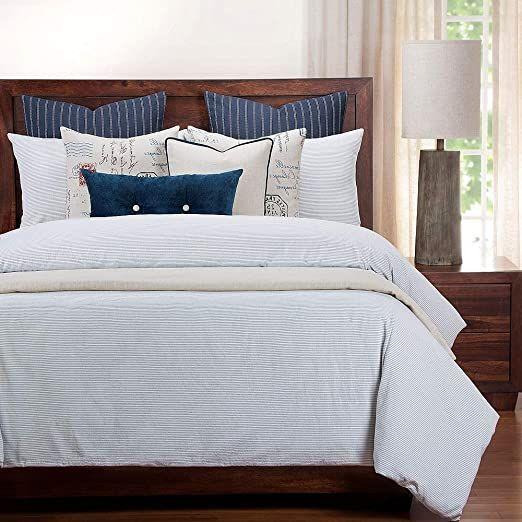 6 Piece Beautiful Farmhouse Style Blue Duvet Cover Set Simple
