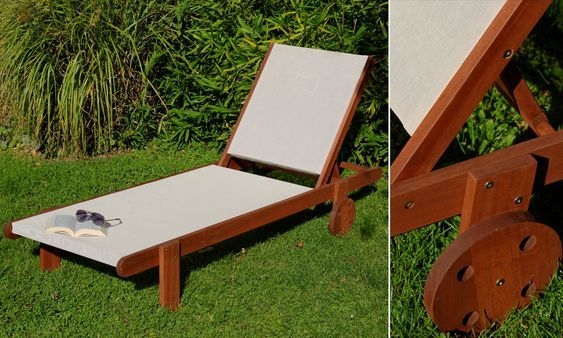 Sonnenliege Wellington Akazienholz Textilbespannung Weiss Mit