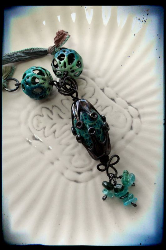Pretty Things: Art Jewelry Elements - Nightmare Bead blog hop by Lori Anderson. . .focal bead by Jennifer Cameron and accent enamels by ME! Carol DeeZigns!