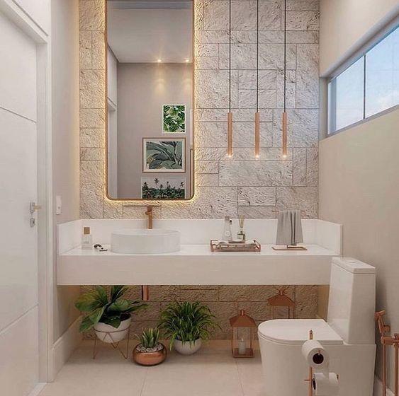Amei a composição super clean desse lavabo! 🥰 Projeto de autoria desconhecida