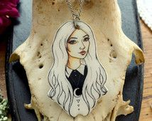 """SALEIllustrated Necklace """"Wednesdays Child Outline""""by Grace and the Wolf,shrink plastic, resin and stainless steel chain 50cm/20 inches…"""