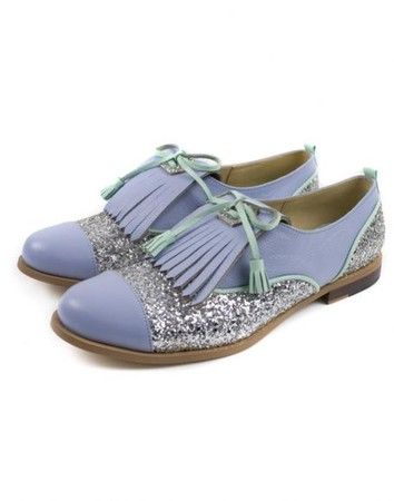 Mödernaked Leather Oxford Lilac Shoes