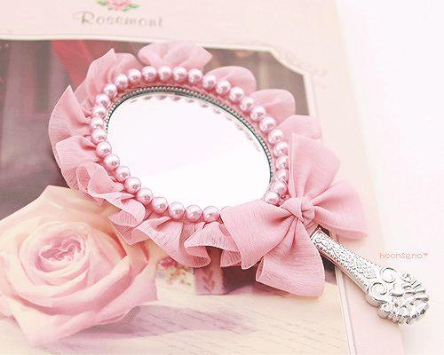 Pink vintage mirror