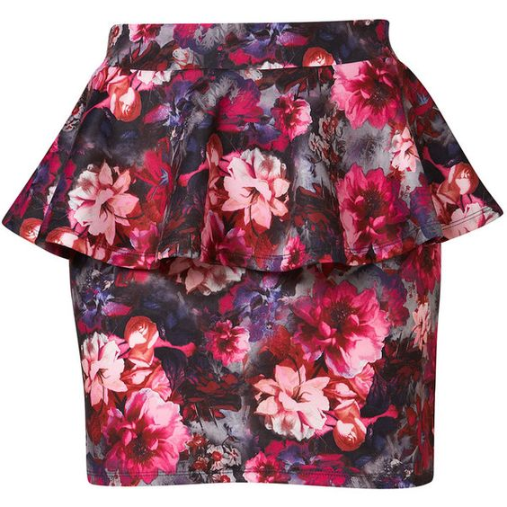 TOPSHOP Floral Peplum Mini Skirt (51 BRL) ❤ liked on Polyvore featuring skirts, mini skirts, bottoms, faldas, saias, multi, short floral skirt, red floral skirt, floral print skirt and floral mini skirt