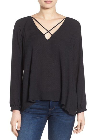 Lush Strappy Long Sleeve Woven Blouse available at #Nordstrom: