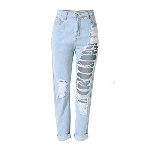 Donna Jeans Pantaloni Larghi Strappati Casual Boyfriend Matita Jeans Vita Alta