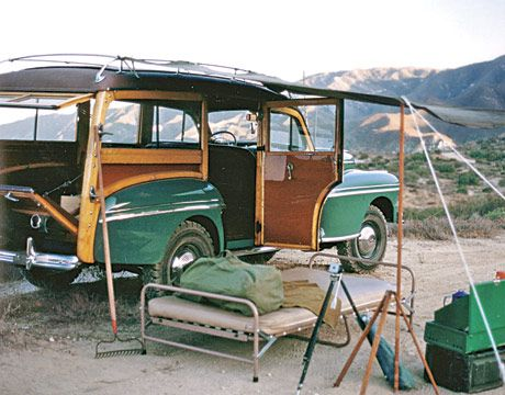 green old fashioned station wagon