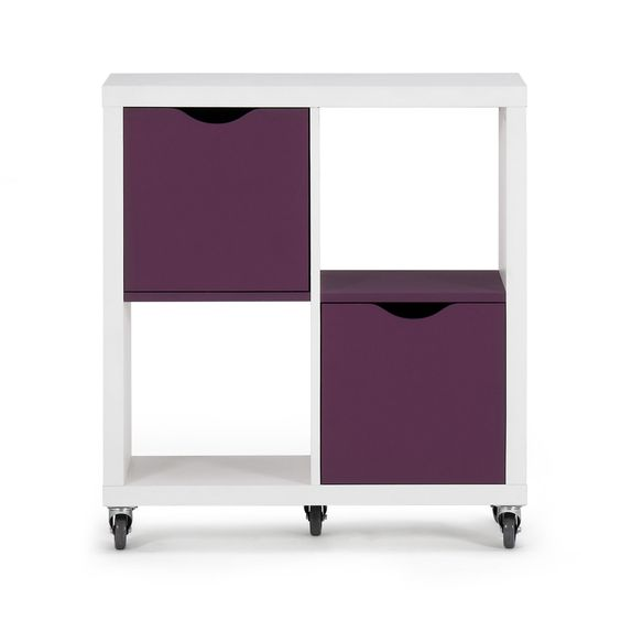 etag re blanche 4 cases avec tiroirs prunes roulettes. Black Bedroom Furniture Sets. Home Design Ideas