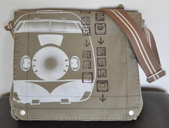 SHINKANSEN Bullet Train Pictogram Canvas Messenger Bag by namu