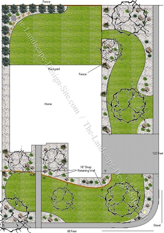 Front yards landscaping and front yard landscaping on for Corner landscape plans