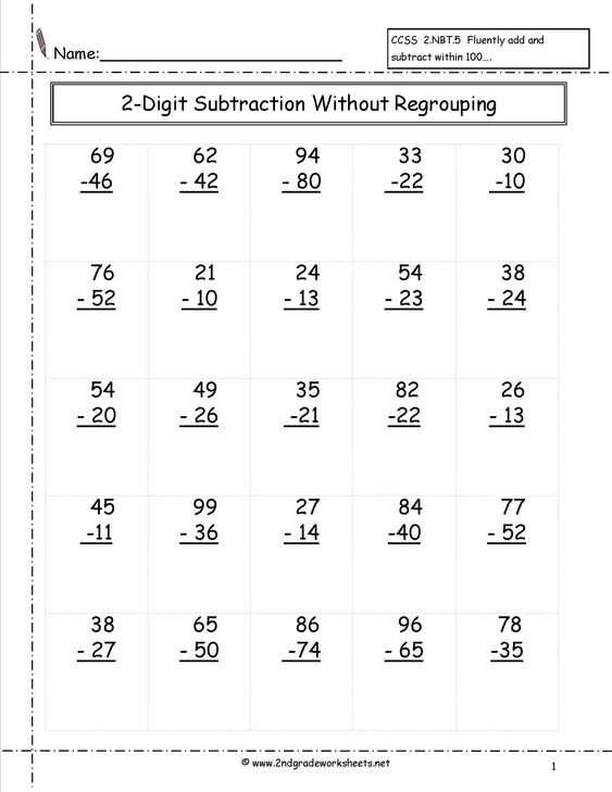two digit subtraction without regrouping worksheet – Subtraction Without Regrouping Worksheets 2nd Grade