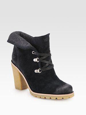 UGG Australia - Calynda Suede & Fleece Lace-Up Ankle Boots - Saks.com