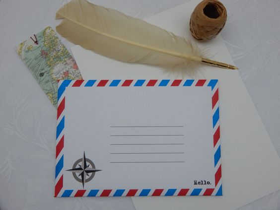 Handmade Compass Rose C5 Self Seal Airmail Envelopes (Pack of 25) by CranerCreations on Etsy