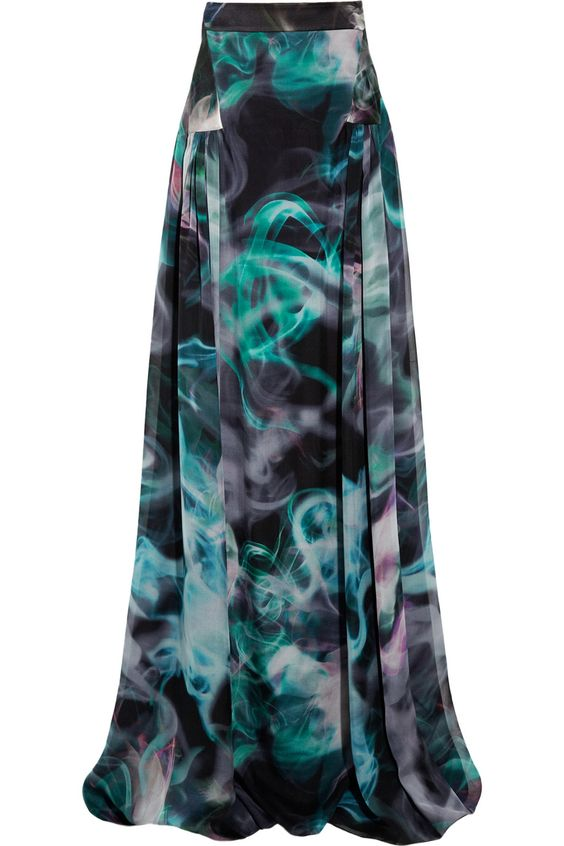 Emanual Ungaro printed silk-chiffon maxi skirt