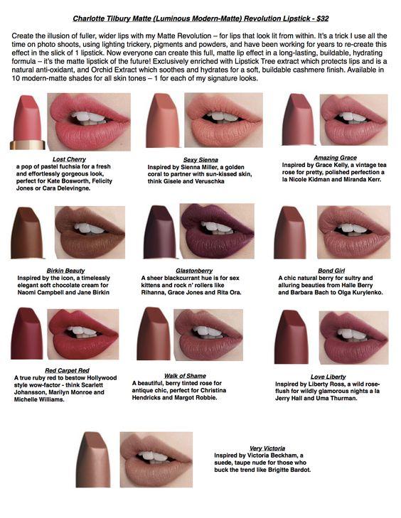 Lipstick Swatches Charlotte Tilbury And Tilbury On Pinterest