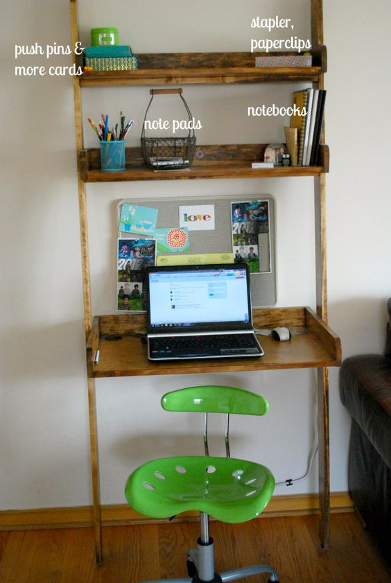 "Leaning bookshelf with space for laptop.It's my new ""office"" made by my husband."