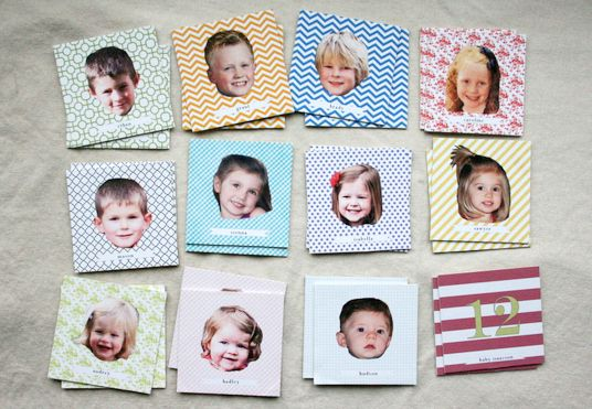 """Cousin memory"" - homemade memory game with family members' pictures. How brilliant is this, and what a great gift!"