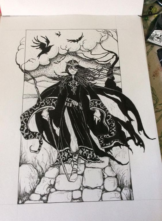 When The Raven King goes by ... Drawing by Rachel Oakes
