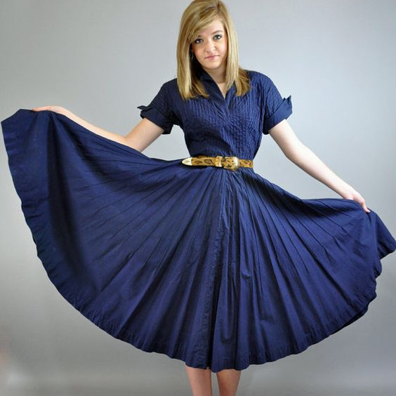 50s dress vintage DAY dress w/ full swing skirt ROCKABILLY cotton ...