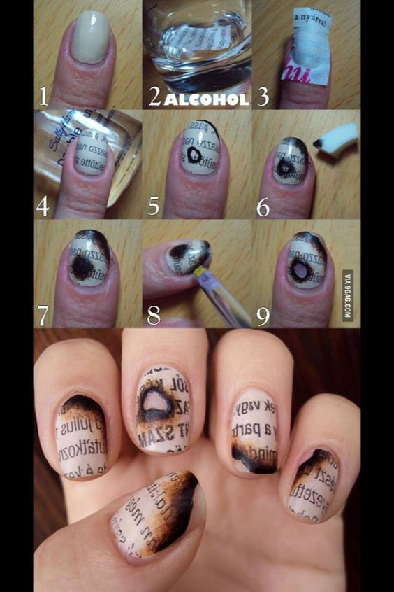 Burnt Book Nails #nailart #nails #burntpaper