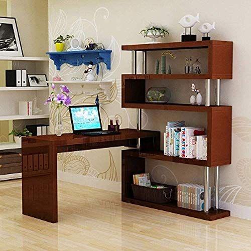 Dbj Home Life Computer Desk Bedroom Rotating Corner Desk Bookcase