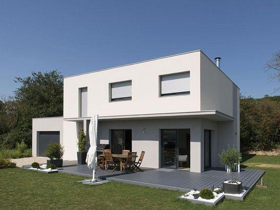 maison-individuelle-contemporaine toit plat avec menuiseries blanches