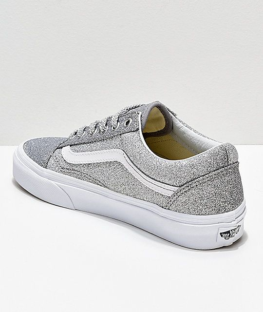Vans Old Skool Silver & White Glitter Skate Shoes | Skate