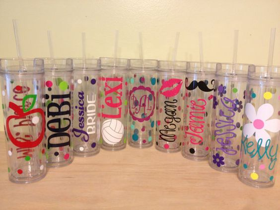 NEW Skinny tumbler: Personalized with name acrylic tumbler w/ push on lid - name or monogram, polka dots & flowers, LOTS of styles available on Etsy, $12.00
