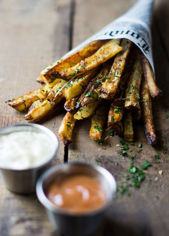 Baked Garlic Parmesan Fries - pair with a Greek Yogurt sauce subbed in for Mayo to lighten it up!
