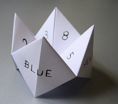 """School Yard Fortune Teller! """"Pick a Color"""" Red! """"R-E-D"""" """"Pick a Number"""" 2 """"1-2"""" """"Pick another number"""" 7  *lifts flap* """"You will Marry Ricky Schroder"""""""