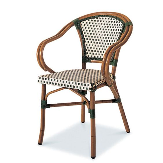 PARIS 5 Stacking Dining Arm Chair  AC3505N04RAT Width: 23 1/4″ Depth: 24″ Height: 32 5/8″ Seat Height: 17 3/4″  Aluminum Tube Wicker: Ivory & Green Weaving Style: 2×2 Finish: Dark Bamboo