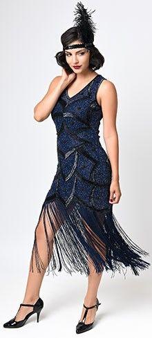 Iconic by UV Black & Blue Beaded Mesh Isadora Fringe Flapper Dress