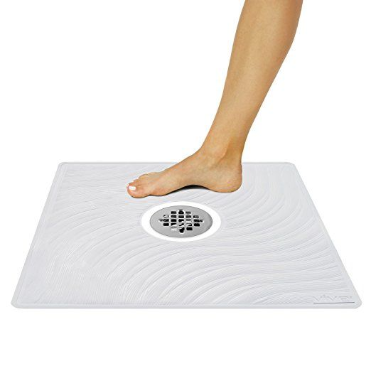 Shower Mat By Vive Square Bath Mats With Drain Hole Non Slip