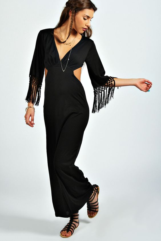Talia Cut Out Detail Tassel Sleeve Maxi Dress at boohoo.com