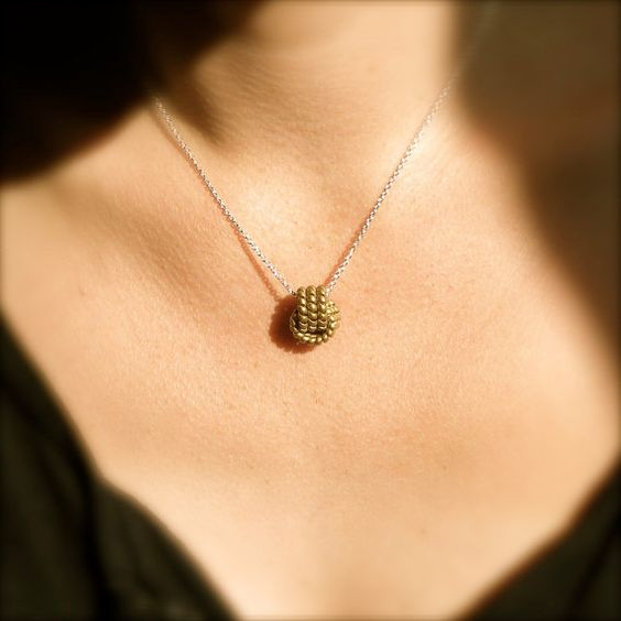 VINTAGE BRASS KNOT necklace  sterling silver chain by BluHour, $38.00