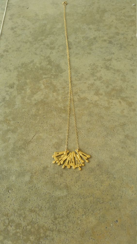 Wild flower gold necklace. Romantic nature jewelry. Plant chain ...