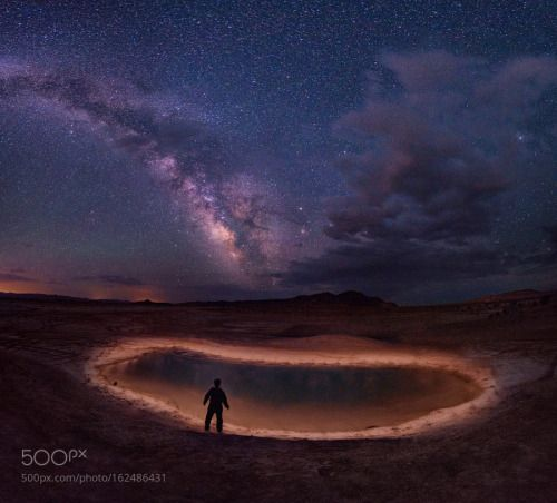 Enchanted Pool by irockutah  night stars sand selfportrait panorama mountain desert self-portrait self portrait milky way starry